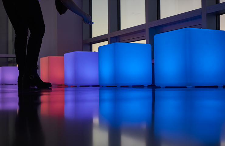 The Glow Illuminated Collection from Party Rental Ltd. includes LED bars, hightops, and cubes available for rental in NY, NJ, PA, CT, DC, and MD.