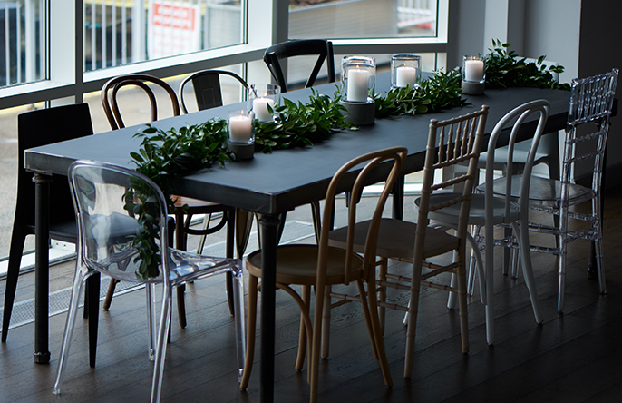 Party Rental Ltd Products Featured Loft Dining Table With Chalkboard Insert Miro Chair Clear Black Bellini Walnut Bentwood Market Bistro